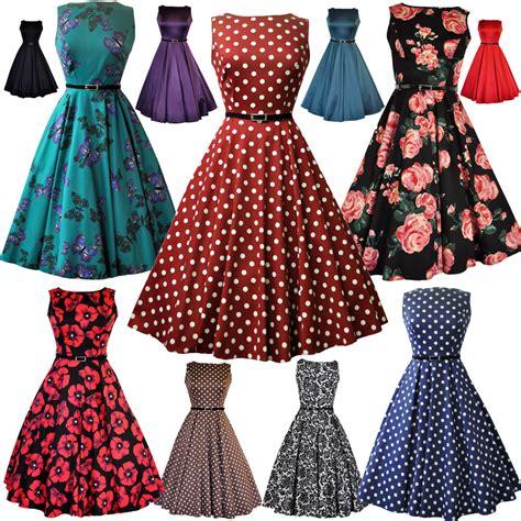 LADY VINTAGE AUDREY HEPBURN DRESS 9 DIFFERENT PRINTS *50s ROCKABILLY* SIZE 8-28 | eBay