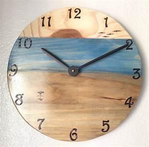 Beach, Ocean, Wall, Clock, Wood, Burned, Multi, Stain, Color