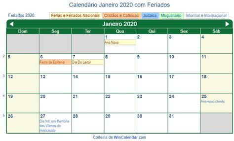 calendario janeiro imprimir brasil