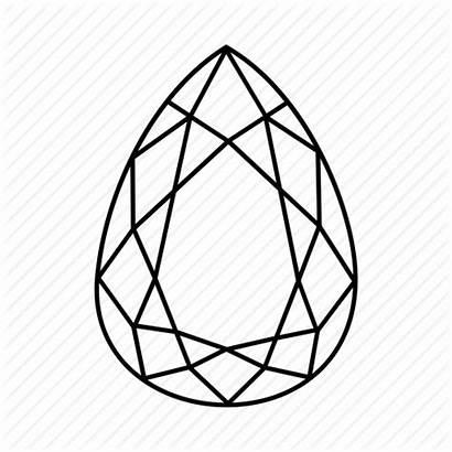 Pear Diamond Shape Drawing Gem Outline Shaped