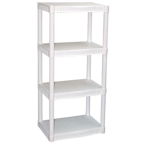 plano 4 tier heavy duty plastic storage shelves home