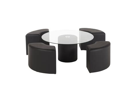 Table Basse Clover  4 Poufs En Simili Inclus Noir