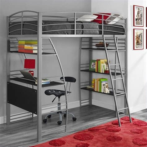 childrens bunk beds with desk loft bunk bed over desk and bookcase twin in gray 4016427
