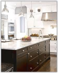 Island Ideas For Small Kitchens Espresso Kitchen Cabinets With White Island Home Design Ideas