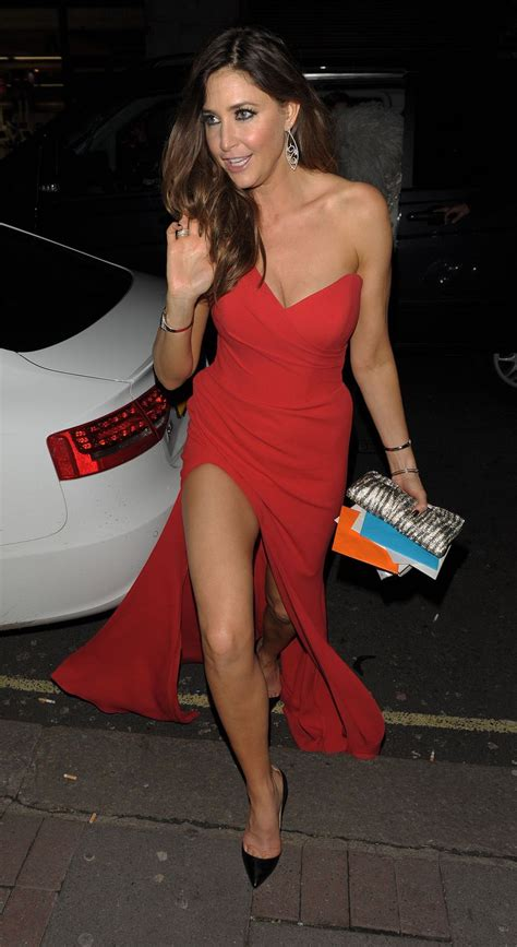 lisa snowdon luks fabulously leggy  red outfits