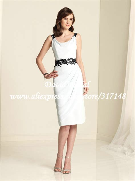 new style he569 appliques wedding guest low cowl back black and white dress cocktail