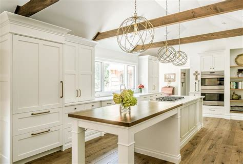 wood breakfast island countertop transitional kitchen