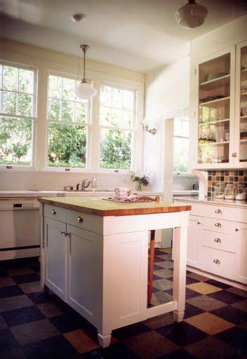 cute retro kitchen   colorful linoleum floor