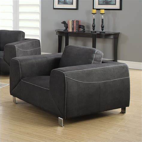 contrast micro suede arm chair in gray