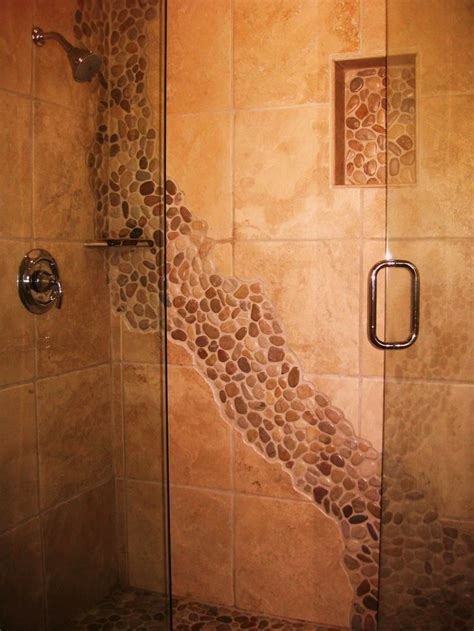 river rock bathroom ideas our stone river in the shower dream home pinterest