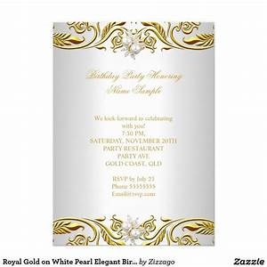 Royal Gold on White Pearl Elegant Birthday Party Card ...
