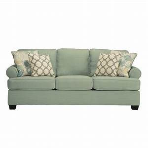 Ashley daystar fabric queen size sleeper sofa in seafoam for Ashley sleeper sofa