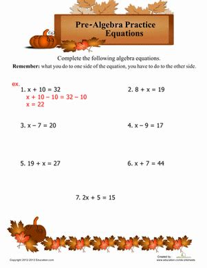 pre algebra equations worksheet education