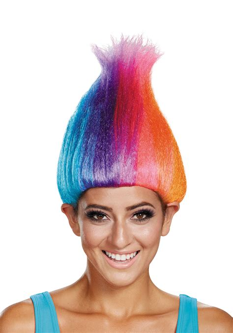Rainbow Colored Troll Wig For Adults
