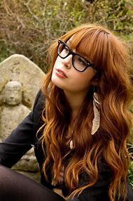 Long Hair with Bangs and Glasses