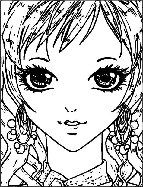 Manga Small Girl Face Coloring Page Also see the category
