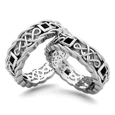 his hers wedding band 18k gold celtic black diamond ring my love
