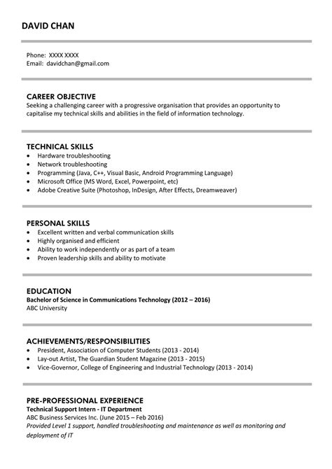 Resume Objective Exles For Fresh Graduates by Sle Resume For Fresh Graduates It Professional