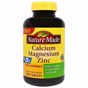 Nature Made Calcium Magnesium Zinc With D3 300 Tablets Gluten