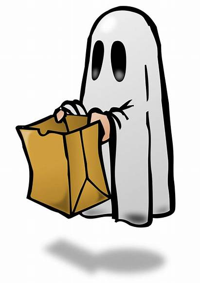 Clip Ghost Trick Treat Halloween Clipart Trunk