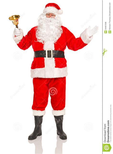 traditional santa claus ringing on santa claus with gold bell royalty free stock photos image 34467508