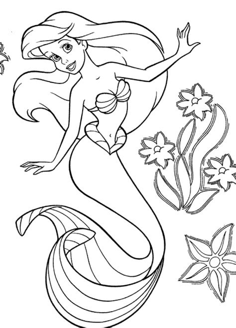 mermaid coloring pages princess printable