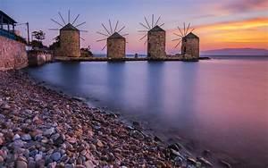 windmills in chios aegean sea greece 4k ultra hd desktop