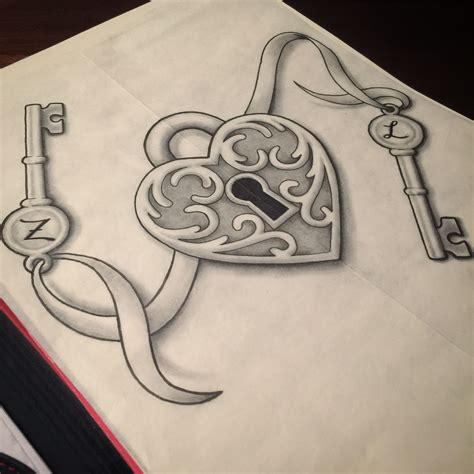 Heart Lock Tattoo Design Drawings In 2019 Heart Lock