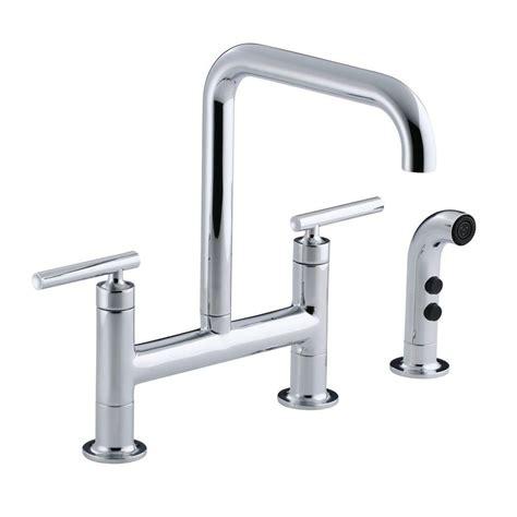 kitchen faucet 4 kohler purist 12 in 2 handle deck mount high arc bridge