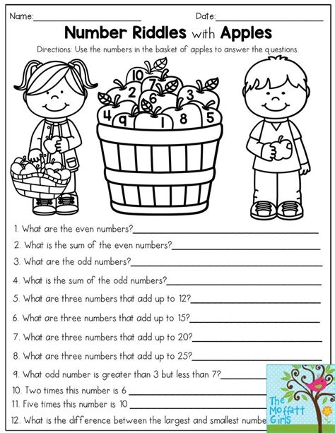 number riddles with apples use the numbers in the basket