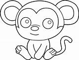 Coloring Easy Pages Monkey sketch template