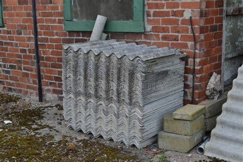 asbestos tiles stock image image  danger weathered