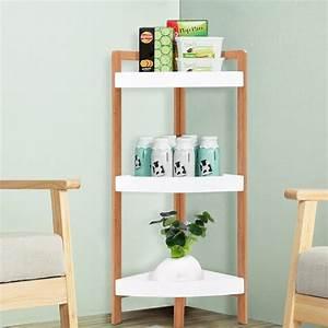 Gymax, 3, Tier, Corner, Shelf, Tower, Storage, Wood, Rack, Stand, Organizer, Holder, Bathroom