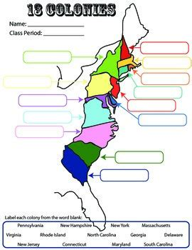 13 Colonies Student Worksheetprintable Map By Coaching History