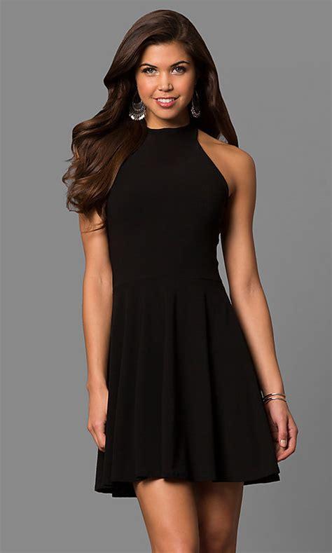 A Line Black Halter Short Party Dress PromGirl