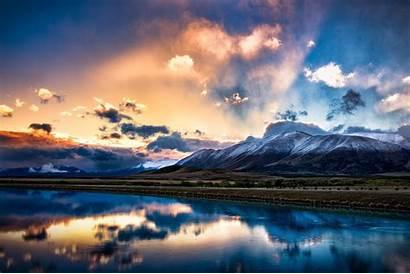 Zealand Sunrise Sunset Sky Mountains Lake Island