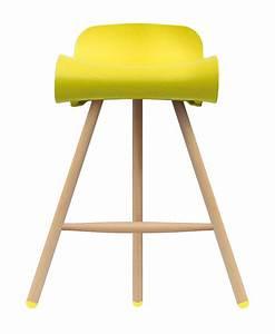 Tabouret De Bar Pied Bois : tabouret de bar bcn wood h 66 cm pieds bois jaune ~ Melissatoandfro.com Idées de Décoration