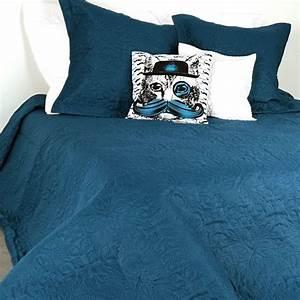 Couvre Lit Bleu Canard : boutis et taies d 39 oreiller 230 x 250 cm ceylan bleu couvre lit boutis eminza ~ Teatrodelosmanantiales.com Idées de Décoration