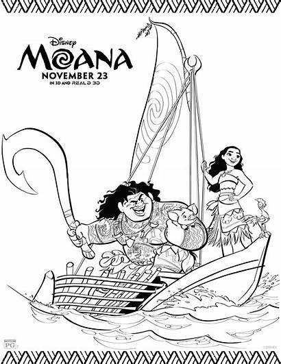 Moana Coloring Pages Disney Sheets Activity Printables