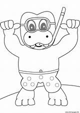 Coloring Pages Hippo Snorkeling Printable Beach Paper Dot Categories sketch template
