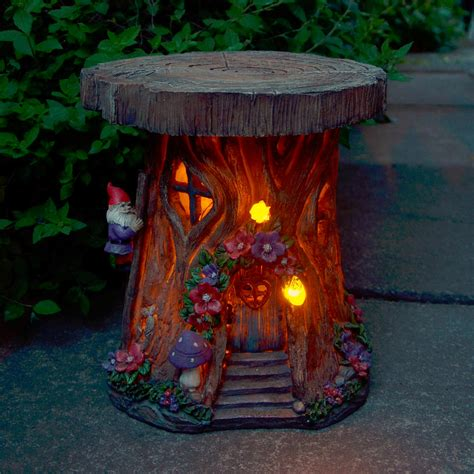 outdoor lighted tree ornaments solar powered tree house led garden ornament patio outdoor