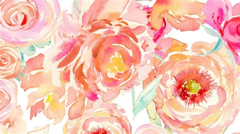 Watercolor Flower Computer Wallpaper,