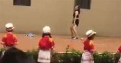 china kindergarten pole dance    school ceremony