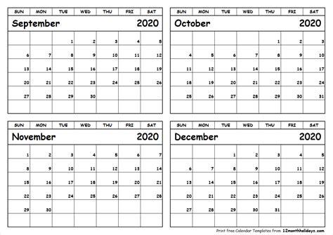 print september  december  calendar template