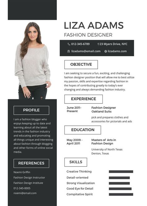 fashion designer resume templates  excel