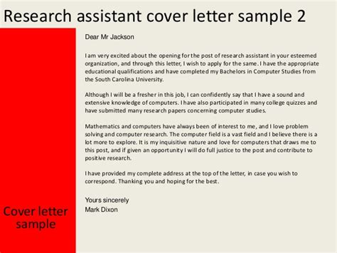 good opening for cover letter research assistant cover letter