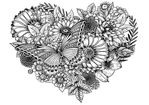 Flowers & Butterfly Flowers Adult Coloring Pages