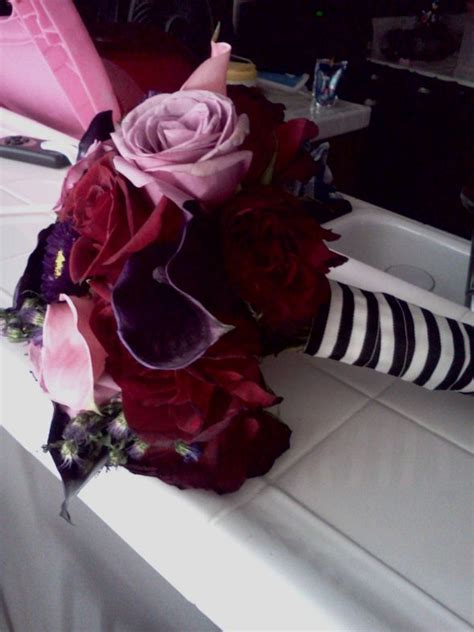 tim burton themed wedding rich color bouquet weddingbee