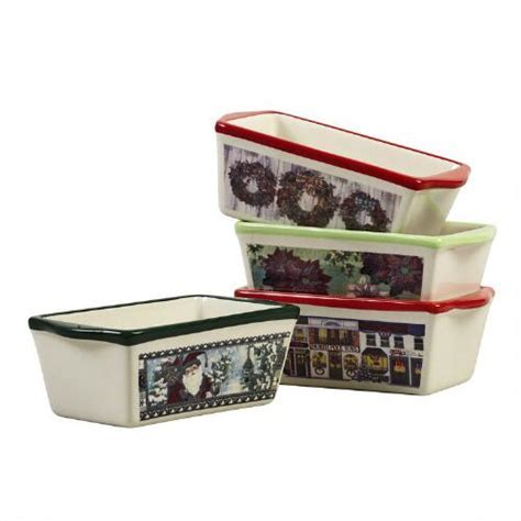 Traditional Christmas Mini Ceramic Loaf Pans, Set of 4