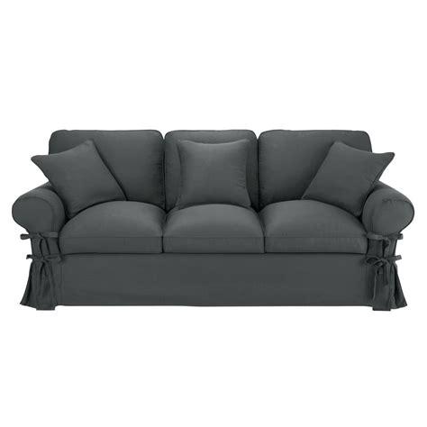 sofa tres plazas maison du monde sof 225 de 3 plazas de algod 243 n gris pizarra butterfly